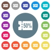 50 percent discount coupon flat white icons on round color backgrounds - 50 percent discount coupon flat white icons on round color backgrounds. 17 background color variations are included.