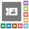 Bowling discount coupon square flat icons - Bowling discount coupon flat icons on simple color square backgrounds