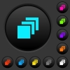 Multiple canvases dark push buttons with color icons - Multiple canvases dark push buttons with vivid color icons on dark grey background