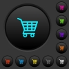 Shopping cart dark push buttons with color icons - Shopping cart dark push buttons with vivid color icons on dark grey background