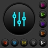 Vertical adjustment dark push buttons with color icons - Vertical adjustment dark push buttons with vivid color icons on dark grey background