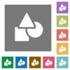 Basic geometric shapes square flat icons - Basic geometric shapes flat icons on simple color square backgrounds
