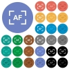 Camera autofocus mode multi colored flat icons on round backgrounds. Included white, light and dark icon variations for hover and active status effects, and bonus shades on black backgounds. - Camera autofocus mode round flat multi colored icons