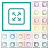 Enlarge object flat color icons with quadrant frames - Enlarge object flat color icons with quadrant frames on white background