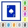 Jack of spades card flat framed icons - Jack of spades card flat color icons in square frames on white background