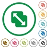 Merge shapes flat icons with outlines - Merge shapes flat color icons in round outlines on white background