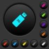 Third generation mobile stick dark push buttons with color icons - Third generation mobile stick dark push buttons with vivid color icons on dark grey background