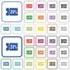 20 percent discount coupon outlined flat color icons - 20 percent discount coupon color flat icons in rounded square frames. Thin and thick versions included.