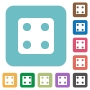Dice four rounded square flat icons - Dice four white flat icons on color rounded square backgrounds