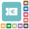 Euro discount coupon rounded square flat icons - Euro discount coupon white flat icons on color rounded square backgrounds