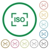 Camera iso speed setting flat icons with outlines - Camera iso speed setting flat color icons in round outlines on white background