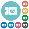 Basketball discount coupon flat round icons - Basketball discount coupon flat white icons on round color backgrounds