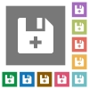 Add new file square flat icons - Add new file flat icons on simple color square backgrounds