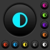 Contrast control dark push buttons with vivid color icons on dark grey background - Contrast control dark push buttons with color icons