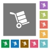 Hand truck with boxes square flat icons - Hand truck with boxes flat icons on simple color square backgrounds