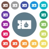 cruise discount coupon flat white icons on round color backgrounds - cruise discount coupon flat white icons on round color backgrounds. 17 background color variations are included.