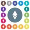 Ethereum digital cryptocurrency flat white icons on round color backgrounds - Ethereum digital cryptocurrency flat white icons on round color backgrounds. 17 background color variations are included.