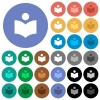 Library round flat multi colored icons - Library multi colored flat icons on round backgrounds. Included white, light and dark icon variations for hover and active status effects, and bonus shades on black backgounds.
