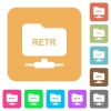 FTP retrieve file rounded square flat icons - FTP retrieve file flat icons on rounded square vivid color backgrounds.