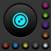 Dress button with 2 holes dark push buttons with color icons - Dress button with 2 holes dark push buttons with vivid color icons on dark grey background