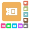 Mobile phone discount coupon rounded square flat icons - Mobile phone discount coupon flat icons on rounded square vivid color backgrounds.