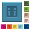 Dice six engraved icons on edged square buttons - Dice six engraved icons on edged square buttons in various trendy colors