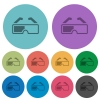 Retro 3d glasses darker flat icons on color round background - Retro 3d glasses color darker flat icons