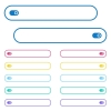 Toggle icons in rounded color menu buttons. Left and right side icon variations. - Toggle icons in rounded color menu buttons