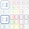 Debugging program outlined flat color icons - Debugging program color flat icons in rounded square frames. Thin and thick versions included.