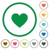 Heart card symbol flat icons with outlines - Heart card symbol flat color icons in round outlines on white background