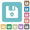Protected file rounded square flat icons - Protected file white flat icons on color rounded square backgrounds