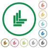 Parquet pattern flat icons with outlines - Parquet pattern flat color icons in round outlines on white background