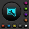 Screen settings dark push buttons with color icons - Screen settings dark push buttons with vivid color icons on dark grey background