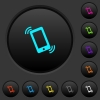 Ringing phone dark push buttons with color icons - Ringing phone dark push buttons with vivid color icons on dark grey background