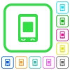 Mobile media stop vivid colored flat icons - Mobile media stop vivid colored flat icons in curved borders on white background
