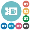 Fueling discount coupon flat white icons on round color backgrounds - Fueling discount coupon flat round icons