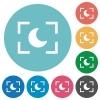 Camera night mode flat round icons - Camera night mode flat white icons on round color backgrounds
