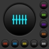Graphical equalizer dark push buttons with color icons - Graphical equalizer dark push buttons with vivid color icons on dark grey background