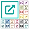 Open in new window flat color icons with quadrant frames - Open in new window flat color icons with quadrant frames on white background