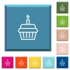 Birthday cupcake white icons on edged square buttons - Birthday cupcake white icons on edged square buttons in various trendy colors