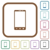 Modern mobile phone with three button simple icons - Modern mobile phone with three button simple icons in color rounded square frames on white background