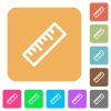Ruler flat icons on rounded square vivid color backgrounds. - Ruler rounded square flat icons