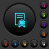 Certificate dark push buttons with vivid color icons on dark grey background - Certificate dark push buttons with color icons