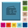 Dollar wallet engraved icons on edged square buttons - Dollar wallet engraved icons on edged square buttons in various trendy colors