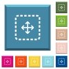 Drag object white icons on edged square buttons - Drag object white icons on edged square buttons in various trendy colors