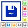 Share file flat framed icons - Share file flat color icons in square frames on white background