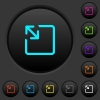 Resize object dark push buttons with color icons - Resize object dark push buttons with vivid color icons on dark grey background