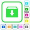 Archive vivid colored flat icons - Archive vivid colored flat icons in curved borders on white background
