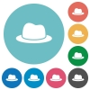 Single Hat flat white icons on round color backgrounds - Single Hat flat round icons