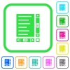 Document with content and scroll bars vivid colored flat icons - Document with content and scroll bars vivid colored flat icons in curved borders on white background